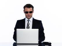 man för hacker för affärsberäkning brotts- Arkivfoton