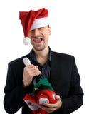 man för hatt för affärsjul lycklig royaltyfri fotografi