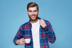 man för kaffekopp Fotografering för Bildbyråer