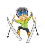 Man för konkurrens för skidåkaresnövinter Stock Illustrationer