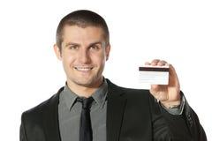man för kreditering för affärskort Arkivfoton