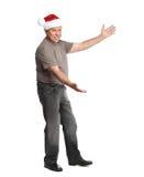 Man för lycklig jul. Fotografering för Bildbyråer