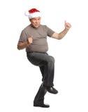Man för lycklig jul. Arkivfoton