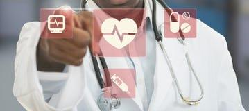 Man för medicinsk doktor för afrikansk amerikan med medicinska symboler Arkivfoton