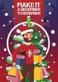 Man för pojke för framsida för skägg för leende för vektor för julvinterförsäljning lycklig med Xmas 2019 för shoppingpåsar som s stock illustrationer