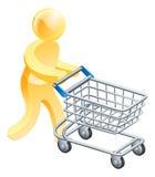 Man för shoppingspårvagnguld Royaltyfri Fotografi