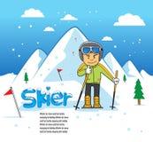 Man för sport för skidåkarehastighet sluttande Stock Illustrationer