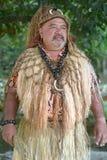Man för Stillahavs- öbo stam- chef i den Rarotonga kocken Island arkivbild