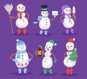 Man för tecken för jul för vinter för tecknad film för snögubbevektor gullig vektor illustrationer