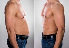 Man före och efter som lossar fett royaltyfri bild