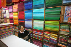 Man at fabric showroom, delhi Royalty Free Stock Photo