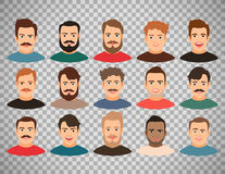Man face avatars on transparent background. Cartoon handsome young guy portraits with beard or without vector illustration. Man face avatar set  on transparent Royalty Free Stock Photos