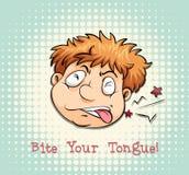 Man face biting tongue Stock Photo