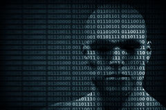 Man face blended with binary code digits. Concept of hacker, data protection etc. Stock Image
