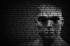 Man face blended with flowing list of motivational words Stock Photography