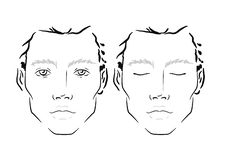 Man Face chart Makeup Artist Blank. Template. royalty free stock photo
