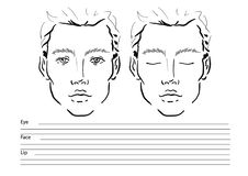 Man Face chart Makeup Artist Blank. Template. royalty free stock images