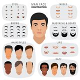 Man face constructor vector male character avatar creation head skin nose eyes with mustache and beard illustration set Royalty Free Stock Photography