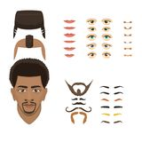 Man face emotions constructor parts eyes, nose, lips, beard, mustache avatar creator vector cartoon character creation. Man face emotions constructor elements stock illustration
