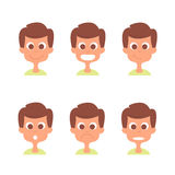 Man face with emotions  set. Man emotion icons isolated on white. Man avatars collection. Royalty Free Stock Photo
