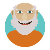 Man face emotive icon. Old man with beard smiling isolated flat vector illustration Happy human psychological portrait. Royalty Free Stock Photography