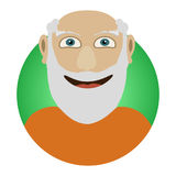 Man face emotive icon. Old man with beard smiling isolated flat vector illustration Happy human psychological portrait. Royalty Free Stock Photo
