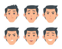 Man Face Emotive Vector Icon in Flat Style Set Stock Image