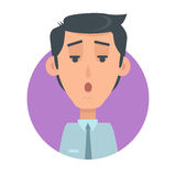 Man Face Emotive Vector Icon in Flat Style Stock Photography