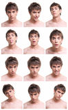 Man face expressions composite isolated on white stock photography