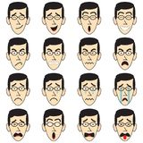 Man Face With Eyeglasses Emoji. 16 Man-Face-With-Eyeglasses Emoji on White Background As 4 Groups Of Facial Expressions, Happy, Angry, Sad, Frightened. Useful Royalty Free Stock Images