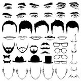 Man face eyes and noses, mustaches with glasses, hats or lips, hairstyle Royalty Free Stock Photos