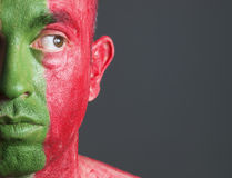 Man face flag Portugal Royalty Free Stock Photo