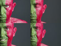 Man face flag Portugal and four expressions Royalty Free Stock Photography