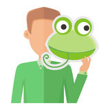 Man Without Face with Frog Mask Isolated on White. Stock Image