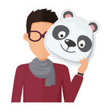 Man Without Face in Glasses with Panda Mask Stock Photography