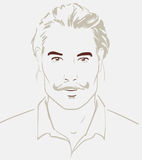 Man face hand drawn. Portrait of a young handsome man. Vector. Illustration royalty free illustration