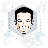 Man face, human head. Vector character, handsome brunet male wit Stock Images