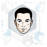 Man face, human head. Vector character, handsome brunet male wit. H stylish haircut Stock Photography