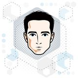 Man face, human head. Vector character, handsome brunet male wit. H stylish haircut Stock Photo