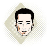 Man face, human head. Vector character, handsome brunet male wit Royalty Free Stock Photography