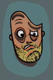 Man face illustration. Layered vector man face hesitating and judging royalty free illustration