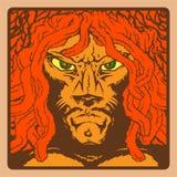 Reggae. The man with the face of a lion, dreadlocks, Rastafarian, reggae style, color illustration Stock Photography