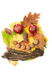 Man face made of autumn fall leaves and fall decorations Stock Photography
