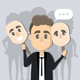 Man with face masks. Man with face masks showing and hiding emotions vector illustration
