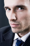 Man face model portrait studio dark background Royalty Free Stock Photos