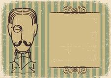 Man face and mustache. Stock Photos