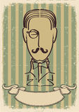 Man face and mustache.Retro image Royalty Free Stock Image