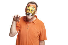 Man with face painting tiger. Growling on white background Royalty Free Stock Image