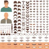 Man face parts, character head, eyes, mouth, lips, hair and eyebrow icon set. Vector illustration of man face parts, character head, eyes, mouth, lips, hair and royalty free illustration