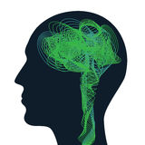 Man face profile with brain waves, thoughts abstract idea. Man face profile with brain waves, thoughts and brainstorm abstract idea Stock Photos